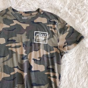 HOLLISTER MENS green camo short sleeve graphic tee